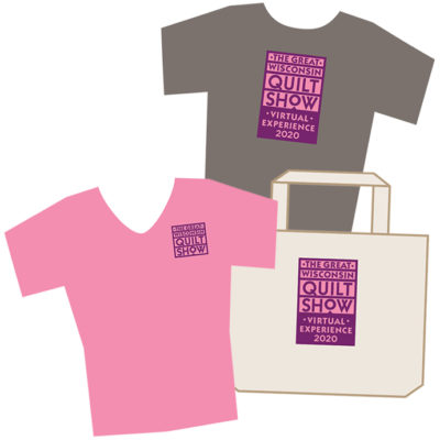 Graphic of event T-shirts and tote bag