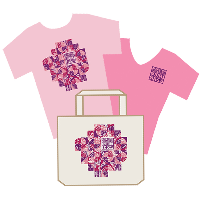 2021 Quilt Show T-shirt in pink with show logo